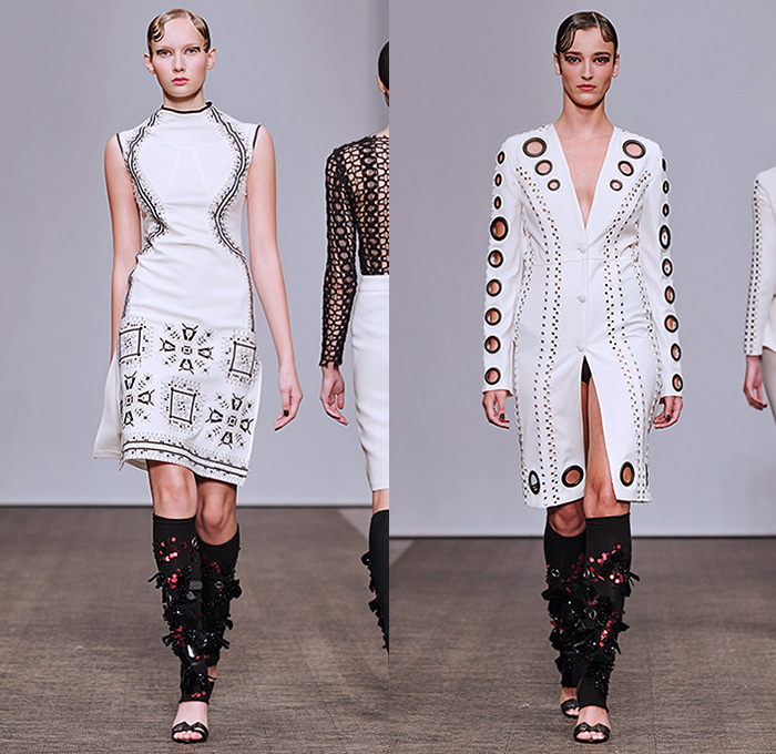 Lamija Suljevic 2016 Spring Summer Womens Runway Catwalk Looks - Fashion Week Stockholm Sweden - Fusions Of Life Neoprene Mesh Fishnet Perforated Lasercut Cutout Frock Pencil Skirt Knit Sweater Jumper Turtleneck Leg Warmers Embroidery Outerwear Coat Coatdress Lace Up Halter Top Blazer Pantsuit