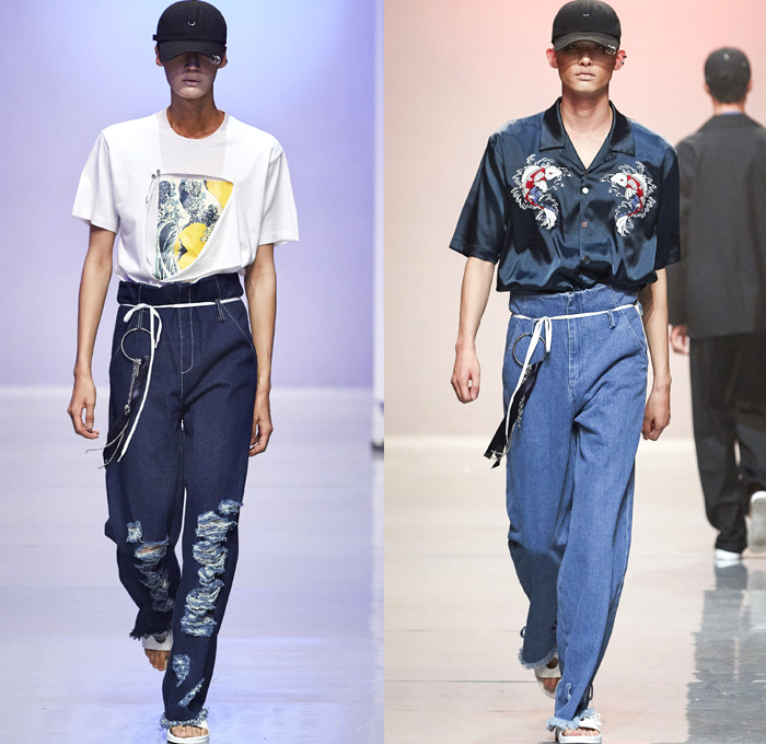 R.SHEMISTE 2016 Spring Summer Mens Runway Catwalk Looks - Seoul Fashion Week South Korea - Hokusai Japanese Woodcut Ukiyo-e Denim Jeans Frayed Raw Hem Destroyed Sandals Blazer Outerwear High Waist Shirt Long Sleeve Blazershirt Drawstring Hat Cap Silk Satin Embroidery Koi Bomber Jacket
