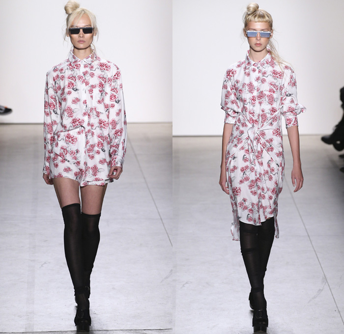 Adam Selman 2017-2018 Fall Winter Womens Runway Catwalk Looks - New York Fashion Week NYFW - 1970s Disco Chic Denim Jeans Wide Leg Flare Embroidery Roses Flowers Floral Print Graphic Pattern Motif Outerwear Trench Coat Motorcycle Biker Jacket Silk Dress Over Shirt Stripes Zipper Sheer Chiffon Tulle Knit Sweater Jumper Sheen Metallic Shine Noodle Spaghetti Strap Gown Eveningwear Embellishments Bedazzled Sequins Halterneck Crop Top Midriff Shorts Wrap Tie Up Oversized Shirtdress Gingham Check Veil Mesh Stockings Tights Hosiery Sneakers Wide Belt Sunglasses Shearling Straps