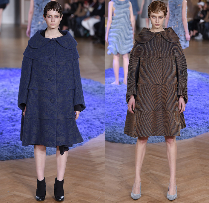 ANREALAGE 2017-2018 Fall Autumn Winter Womens Runway Catwalk Looks - Mode à Paris Fashion Week Mode Féminin France - Sculpture Organic Shape Structure Circles Spiral Twists Tiered Technical Tailoring Denim Jeans Stripes Shorts Mummy Wrap Asymmetrical Skirt Chunky Knit Doily Crochet Embroidery Decorated Ridges Wide Leg Trousers Palazzo Pants Silk Satin Ruffles Buttons Zippers Outerwear Coat Bomber Jacket Quilted Waffle Puffer Parka Handkerchief Hem Corduroy Topographical Armadillo Layers Pearls Crystals Barrel Athletic Bag
