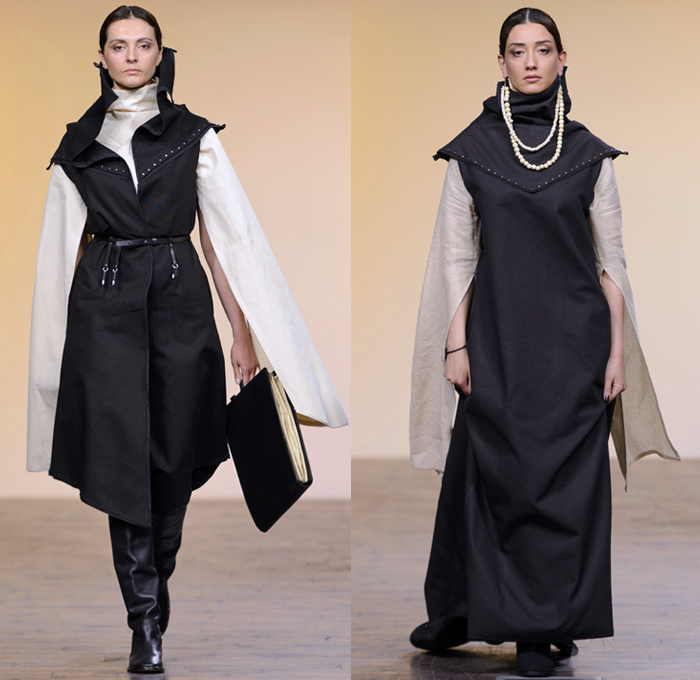 Anuka Keburia 2017-2018 Fall Winter Womens Runway Catwalk Looks - Mercedes-Benz Fashion Week Tbilisi Georgia MBFW - Priestess Capelet Soutane Missionary Collar Deconstructed Frayed Raw Hem Elongated Cutout Sleeves Cargo Pockets Wool Outerwear Overcoat Robe Cloak Shawl Sleeveless Metallic Studs Turtleneck Maxi Dress Crop Top Midriff Layers Drapery Onesie Frankenstein Shoulders Wide Leg Trousers Palazzo Pants Slouchy Skirt Frock Lace Up Beads Necklace Chain Messenger Portfolio Bag Leather Boots Handbag Headwear
