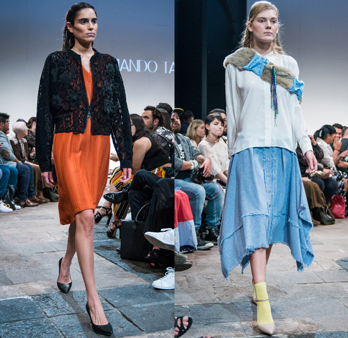 Armando Takeda 2017-2018 Fall Winter Womens Runway Catwalk Looks - Mercedes-Benz Fashion Week Mexico City Moda Otoño Invierno 2017 MBFWMX - Denim Jeans Frayed Raw Hem Culottes Cropped Wide Leg Trousers Palazzo Pants Tweed Lace Embroidery Needlework Jacket Bell Sleeves Shawl Plush Fur Blouse Long Sleeve Tunic Knit Sweater Jumper Asymmetrical Hem Dress Threads Fringes Decorated Bedazzled
