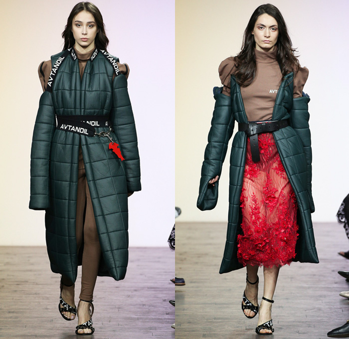 Avtandil Tskvitinidze 2017-2018 Fall Winter Womens Runway Catwalk Looks - Mercedes-Benz Fashion Week Tbilisi Georgia MBFW - Space Age Denim Jeans Patchwork Frayed Raw Hem Destroyed Deconstructed Trucker Jacket Slouchy Sportswear Shawl Trench Coat Overcoat Quilted Waffle Puffer Down Outerwear Leather Bomber Jacket Vest Waistcoat Turtleneck Sweaterdress Grosgrain Cinch Velour Velvet Leggings Cutout Shoulders Leg O'Mutton Sleeves Frankenstein Football Shoulders Shirtdress Pants Trousers Belts Straps Sheer Chiffon Organza Tulle Ruffles Blouse Miniskirt Flowers Floral Embroidery Decorated Curved Hem Street Art Tiered Pleats Drapery Handkerchief Hem Fringes Bag Briefcase Sunglasses Ski Glasses Thigh High Boots