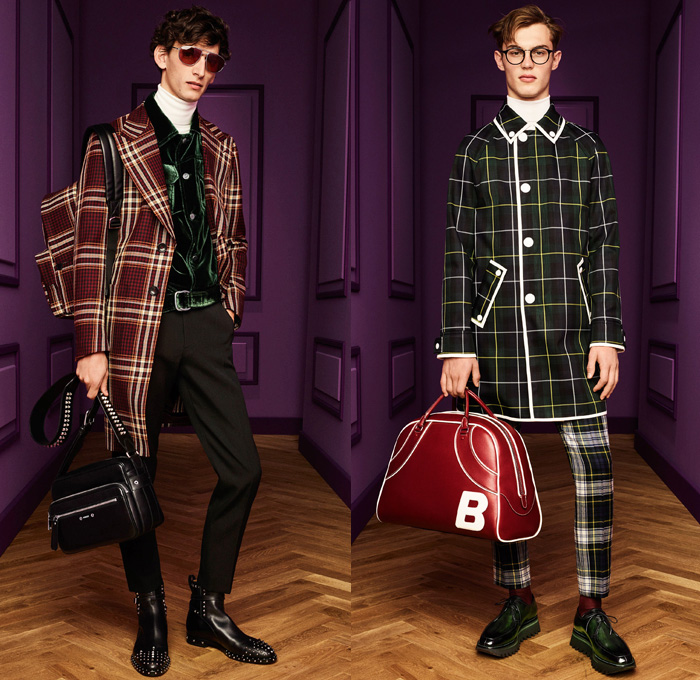 Bally of Switzerland 2017-2018 Fall Autumn Winter Womens Mens Lookbook Presentation - Milano Moda Donna Collezione Milan Fashion Week Italy - 1970s Seventies Plaid Tartan Pantsuit Silk Satin Ruffles Blouse Pussycat Bow Ribbon Tuxedo Jacket Velvet Pants Trousers Tiles Belted Waist Parka Trench Coat Slouchy Cow Pattern Skirt Accordion Pleats Leopard Quilted Waffle Puffer Down Jacket Double Breasted Mockneck Suede Backless Babouche Mules Leather Platforms Colored Sunglasses Heels Pumps Stockings Tights Beret Bowtie Tote Backpack Boots Duffel Bowling Bag Sneakers Bedazzled Handbag