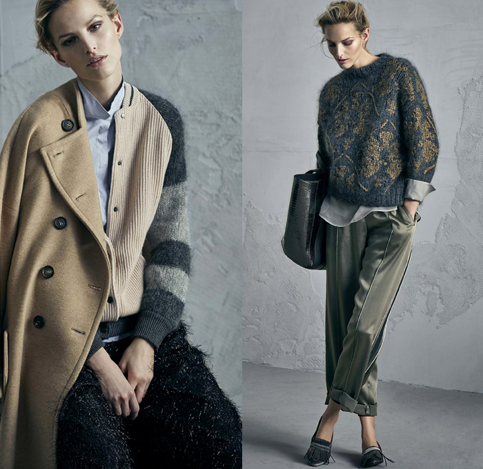 Brunello Cucinelli 2017-2018 Fall Autumn Winter Womens Lookbook Presentation - Milano Moda Donna Collezione Milan Fashion Week Italy - Alpaca Cashmere Vellum Velvet Suede Mohair Silk Satin Sheer Chiffon Tulle Plush Fur Shearling Outerwear Trench Coat Overcoat Hanging Sleeve Blazer Blouse Hooded Sweatshirt Stripes Quilted Waffle Puffer Down Bomber Jacket Chunky Knit Tweed Turtleneck Sweater Jumper Cardigan Crop Top Cutout Shoulders Fringes Corduroy Motorcycle Biker Vest Paper Bag Waist Metallic Sheen Tuxedo Stripe Denim Jeans Tiered Skirt Frock Wide Leg Trousers Palazzo Pants Tote Crossbody Handbag Purse Military Boots Flats Oxfords Street Cap