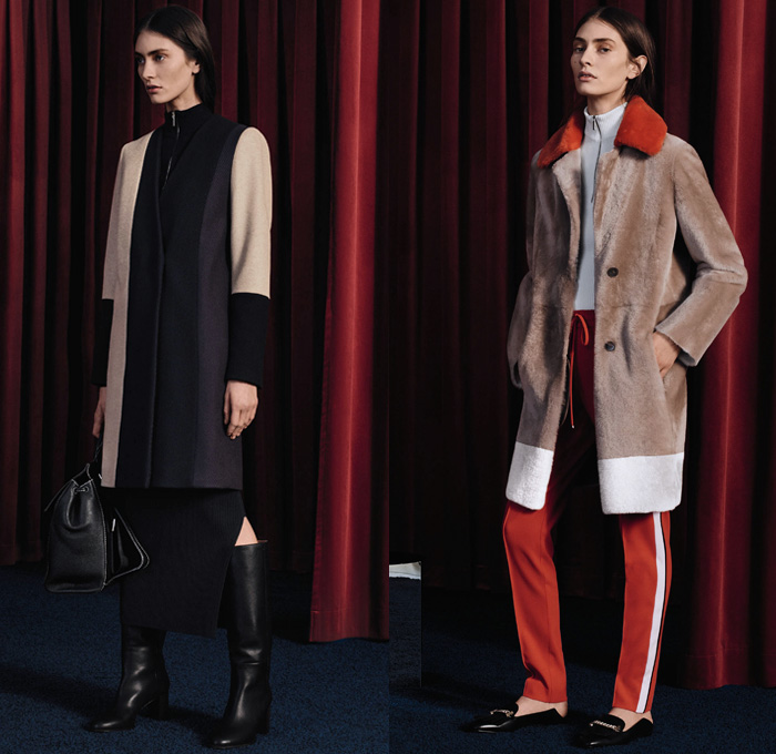 Boss 2017-2018 Fall Autumn Winter Womens Lookbook Presentation - New York Fashion - Picnic Plaid Windowpane Check Trench Coat Overcoat Parka Quilted Waffle Puffer Down Outerwear Furry Plush Snap Buttons Tearaway Chunky Knit Sweater Jumper Ribbed Tuxedo Stripe Turtleneck Colorblock Sleepwear Pajamas Lounge Pantsuit Lace Embroidery Needlework Ruffles Folds Bomber Jacket Half & Half Slim Trousers Wide Leg Palazzo Pants Cargo Pockets Skirt Frock Dress Asymmetrical Hem Noodle Spaghetti Strap Accordion Pleats Cutout Waist Sleeveless Handbag Tote Minibag Boots Mules