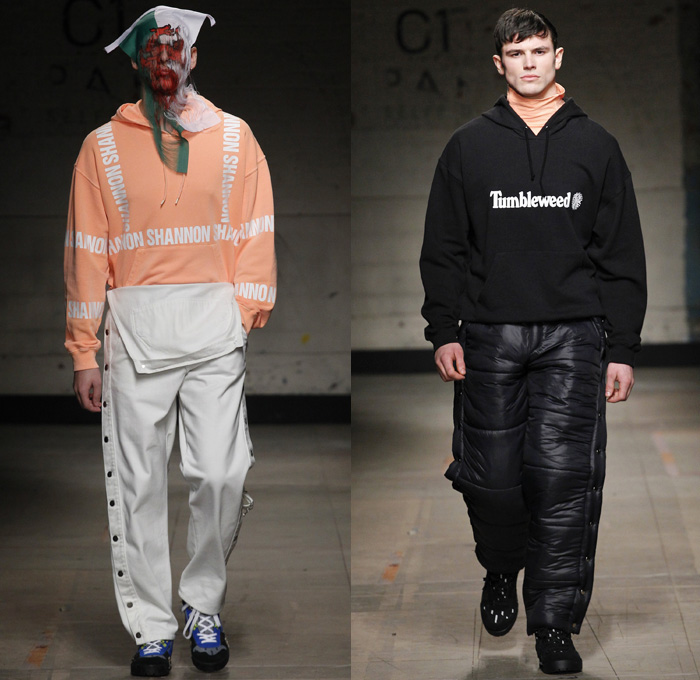 Christopher Shannon 2017-2018 Fall Autumn Winter Mens Runway Catwalk Looks - London Collections Fashion Week Mens British Fashion Council UK United Kingdom - Workwear Painter's Overalls Onesie Jumpsuit Nylon Shredded Flag Headwear Mask Cargo Pockets Snap Buttons Tearaway Long Sleeve Shirt Leggings Turtleneck Knitwear Sweater Jumper Fleece Half & Half Hooded Sweatshirt Quilted Waffle Puffer Down Jacket Cutout Cut Out Slouchy Baggy Oversized Outerwear Coat Parka Denim Jeans Trucker Jacket Shorts Faded Constant Stress Loss International Tumbleweed Trainers