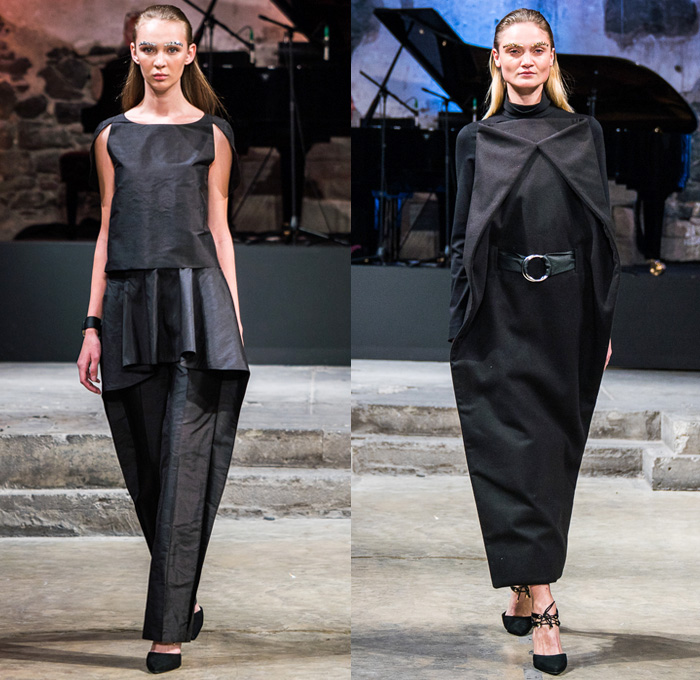 cihuah 2017-2018 Fall Winter Womens Runway Catwalk Looks - Mercedes-Benz Fashion Week Mexico City Moda Otoño Invierno 2017 MBFWMX - Outerwear Coatdress Geometric Peel Away Folded Dovetail Mullet High-low Sheer Chiffon Waterfall Skirt Bandeau Maxi Dress Peplum Cutout Hanging Sleeve Capelet Drapery One Shoulder Fins Turtleneck Vest Waistcoat Onesie Jumpsuit Coveralls Dungarees Dress Over Culottes Pleats Shorts Buttoned Hem Triangular Wide Leg Trousers Palazzo Pants Arm Warmers O-Ring Belt Angular Asymmetrical Hem Hat Sombrero