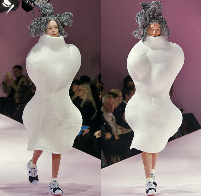 Comme des Garçons Designer Rei Kawakubo 2017-2018 Fall Autumn Winter Womens Runway Catwalk Looks - Mode à Paris Fashion Week Mode Féminin France - The Future Of Silhouette Sculpture Organic Shape Structure Bubble Cocoon Sphere Ball Curves Shapes Metallic Foil Threads Sponge Wig Lamp Dress Recycled Papier-Mâché Pulp Glued Wool Futuristic Patches Skirt Frock Dress Frankenstein Football Padded Shoulders http://www.denimjeansobserver.com/mag/wp-admin/media-upload.php?post_id=17287&type=image&TB_iframe=1Lace Embroidery Embellishments Adornments Decorated Bedazzled Oversized Outerwear Coat Wrap Tie Up Ruffles Sheer Chiffon Volcano Holes Octopus Velvet Knit Bell Hem