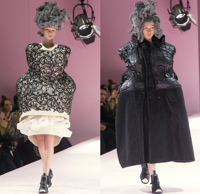 Comme des Garçons Designer Rei Kawakubo 2017-2018 Fall Autumn Winter Womens Runway Catwalk Looks - Mode à Paris Fashion Week Mode Féminin France - The Future Of Silhouette Sculpture Organic Shape Structure Bubble Cocoon Sphere Ball Curves Shapes Metallic Foil Threads Sponge Wig Lamp Dress Recycled Papier-Mâché Pulp Glued Wool Futuristic Patches Skirt Frock Dress Frankenstein Football Padded Shoulders Lace Embroidery Embellishments Adornments Decorated Bedazzled Oversized Outerwear Coat Wrap Tie Up Ruffles Sheer Chiffon Volcano Holes Octopus Velvet Knit Bell Hem