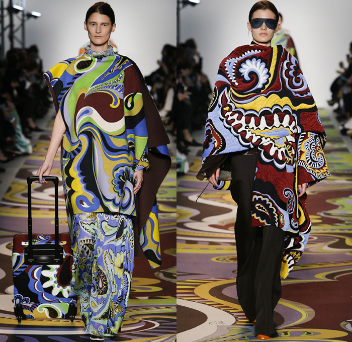 Emilio Pucci 2017-2018 Fall Autumn Winter Womens Runway Catwalk Looks - Milano Moda Donna Collezione Milan Fashion Week Italy - Psychedelic Textures Fringes Paisley Embroidery Embellishments Decorated Bedazzled Jewels Copper Bronze Metallic Studs Maxi Dress Goddess Gown Eveningwear Cutout Turtleneck Sheer Chiffon Drapery Cinch Drawstring Cape Pants Trousers Slouchy Elongated Sleeves Neon Green One Shoulder Scarf Wrap Around Leggings Tights Pleats Choker Shawl Sleeveless Geometric Disco Harlequin Checkerboard Racing Check Zebra Stripes Half And Half Asymmetrical Hem Pantsuit Liquid Pattern Silk Satin Handbag Satchel Carry On Luggage Floppy Sun Hat