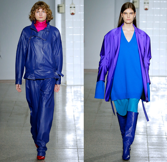 Erika Cavallini 2017-2018 Fall Autumn Winter Womens Runway Catwalk Looks - Milano Moda Donna Collezione Milan Fashion Week Italy Camera Nazionale della Moda Italiana - Denim Jeans Wide Sleeves Strapless Dress Deconstructed Twisted Oversized Repurposed Assemblage Surplus Blouse Long Sleeve Shirt Asymmetrical Hem Off Buttons Stripes Pinstripe Trackjacket Sweatshirt Ruffles Cardigan Pantsuit Turtleneck Knit Sweater Onesie Jumpsuit Coveralls Blazerall Frankenstein Football Padded Shoulders Wool Half & Half Outerwear Trench Coat Plaid Tartan Check Sweaterdress Crop Top Midriff  Silk Satin Straps Elongated Sleeves Maxi Dress Goddess Gown Wrap Kimono Flowers Floral Leaves Foliage Bedazzled Sequins Above The Knee Boots