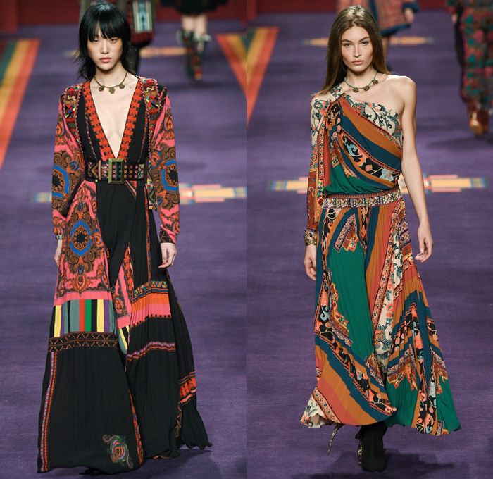 Etro 2017-2018 Fall Autumn Winter Runway Catwalk Looks - Milano Moda Donna Collezione Milan Fashion Week Italy - 1960s Sixties 1970s Seventies Kaftan Paisley Ethnic Folk Tribal Central Asia Northern Europe Brocade Ornamental Print Decorative Art Silk Satin Maxi Dress Cinch Shirtdress Geometric Stripes Flowers Floral Leopard One Shoulder Capelet Sheer Chiffon Accordion Pleats Embroidery Decorated Bedazzled Bishop Sleeves Kimono Wrap Robe Outerwear Coat Parka Houndstooth Quilted Waffle Puffer Jacket Shorts Chunky Knit Yarn Loops Crossbody Messenger Bag Shearling Fur Boots