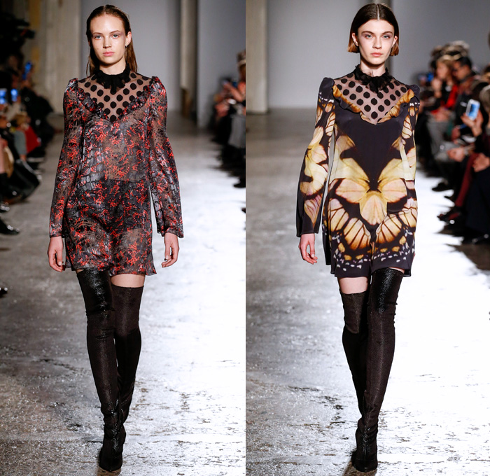 Francesco Scognamiglio 2017-2018 Fall Autumn Winter Womens Runway Catwalk Looks - Milano Moda Donna Collezione Milan Fashion Week Italy - Butterfly Wings Print Motif Symmetry Pattern Maxi Dress Goddess Gown Eveningwear Sheer Chiffon Cutout Perforated Lasercut Outerwear Jacket Skirt Frock Embellishments Decorated Bedazzled Bejeweled Metallic Studs Pants Trousers Furry Shaggy Plush Shorts Over Pants Ruffles Long Sleeve Blouse Pencil Skirt Velvet Leg O'Mutton Sleeves Polka Dots Noodle Spaghetti Strap Thigh High Boots