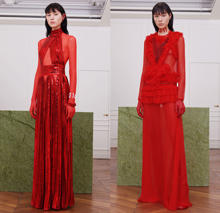 Givenchy 2017-2018 Fall Autumn Winter Womens Lookbook Presentation - Mode à Paris Fashion Week Mode Féminin France - Revisit Iconic Silhouettes Bodysuit Neoprene Sheer Chiffon Lace Embroidery Sequins Adorned Decorated Bedazzled Tulle Silk Satin Ruffles Dress Gown Eveningwear Turkey Feathers Kimono Outerwear Coat Twisted Petal Sweater Jumper Noodle Spaghetti Strap Flowers Floral Accordion Pleats Wide Leg Trousers Bomber Jacket Shearling Fur Fringes Brocade Bungee Cord Stockings Tights Industrial Bangles Galoshes Boots Welder's Sunglasses