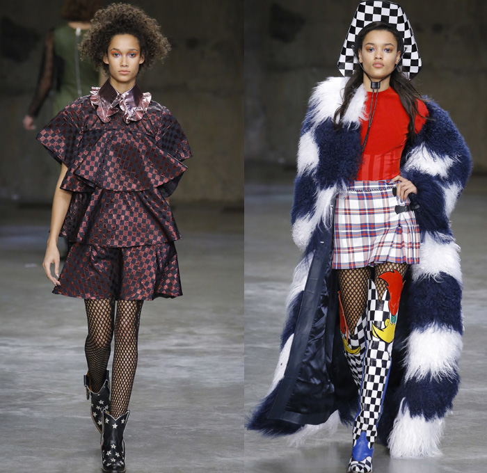 House of Holland 2017-2018 Fall Autumn Winter Womens Runway Catwalk Looks - London Fashion Week Collections UK United Kingdom - Woody Woodpecker Pop Art Cartoon Character Retro 1960s Sixties Mod Western Cowgirl Lace Up Stars Shaggy Plush Fur Outerwear Coat Plaid Racing Check Onesie Jumpsuit Coveralls Stripes Pinafore Dress Tie Up Silk Satin Flapper Fringes Miniskirt Kimono Wrap Lace Needlework Mesh Bomber Jacket Ruffled Collar One Shoulder Ribbon Bow Gown Eveningwear Tiered Noodle Strap Polka Dots Camouflage Velvet Denim Jeans Patchwork Crossbody Mini Bag Flames Boots Fishnet Stockings Cowboy Hat Sunglasses Snakeskin