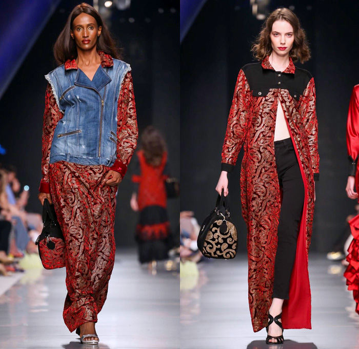 Jeans Couture 2017-2018 Fall Winter Womens Runway Catwalk Looks - Arab Fashion Week AFW Dubai United Arab Emirates UAE Middle East - Denim Jeans Panels Jumpsuit Coveralls Bib Brace Dungarees Combishorts Romper Zippers Vest Waistcoat Combo Hybrid Cropped Pants Outerwear Trucker Jacket Gold Metallic Blouse Long Sleeve Shirt Silk Satin Ruffles Shirtdress Fringes Bell Sleeves Polka Dots Flowers Floral Roses Leaves Foliage Botanical Motif Embroidery Decorated Bedazzled Sheer Chiffon Organza Tulle Dress Skirt Frock Wide Leg Flare Wrap Kimono Dovetail Mullet Hem High-Low Waterfall Skirt Ribbon Bow Lace Embroidery Handbag Headwear