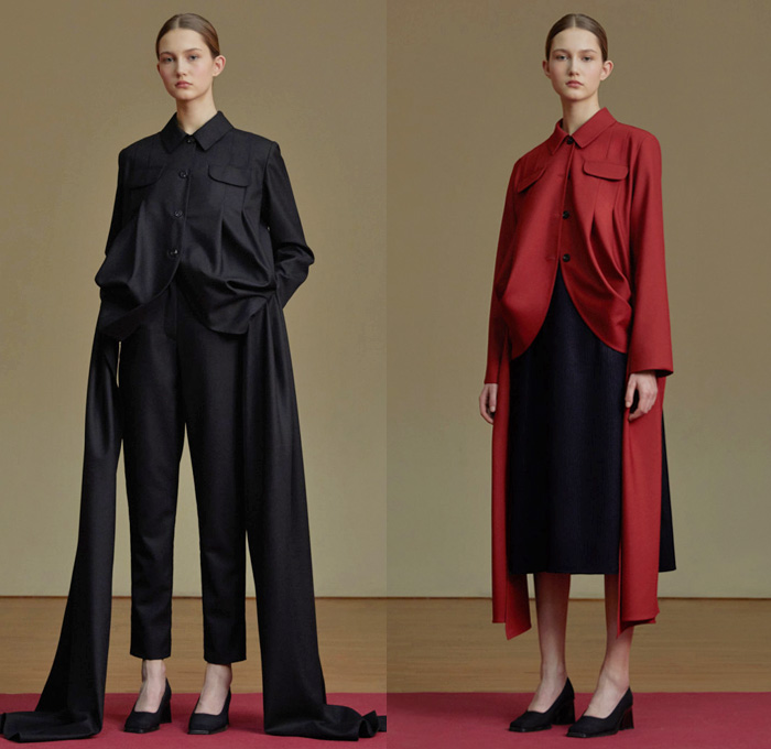 Jenia Kim 2017-2018 Fall Autumn Winter Womens Lookbook Presentation - Fashion Week Russia Moscow - Minimalist Leg O'Mutton Sleeves Bloated Circular Sleeves Velvet Turtleneck Outerwear Coatdress Jacket V-neck Sweater Jumper Long Sleeve Blouse Shirtdress Extra Panel Strip Boxy Square Trapezoidal Hollow Crop Top Midriff Curved Slit Hem Drapery Skirt Frock Flare Bell Bottom Elongated Pleats Flowers Floral Decoration