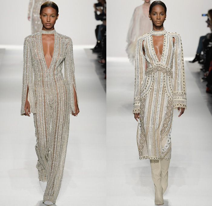 Jonathan Simkhai 2017-2018 Fall Winter Womens Runway Catwalk Looks - New York Fashion Week NYFW - Old World Spain Aristocracy Denim Jeans Bustier Destroyed Destructed Ripped Holes Trucker Jacket Lace Up Cross Stitch Cargo Pockets Ornamental Decorative Art Embroidery Embellishments Decorated Bedazzled Sequins Grommets Lace Mesh Needlework Knitwear Sheer Chiffon Tulle Tiered Skirt Frock Blouse Ruffles Strapless Crop Top Midriff Fox Fur Stole Shawl Plush Outerwear Coat Silk Satin Maxi Dress Gown Eveningwear Noodle Spaghetti Strap Halterneck Above The Knee Wrapped Boots Choker