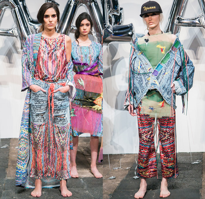Jorge Ayala 2017-2018 Fall Winter Womens Runway Catwalk Looks - Mercedes-Benz Fashion Week Mexico City Moda Otoño Invierno 2017 MBFWMX - Denim Jeans Hybrid Multi-Panel Scribbles Written Destroyed Frayed Raw Hem Threads Cobweb Flare Bell Bottom Acid Wash Outerwear Trucker Jacket Sheer Chiffon Tulle Ornaments Decorative Art Foulard Print Strapless Blouse Accordion Pleats Embroidery Stitch Silk Satin Kimono Robe Tribal Ethnic Folk Fringes Beads Geometric Lines Paisley Paint Drippings Wide Leg Trousers Palazzo Pants Fauna Leaves Foliage Dress Skirt Frock Big Buckle Belt Hood Street Cap