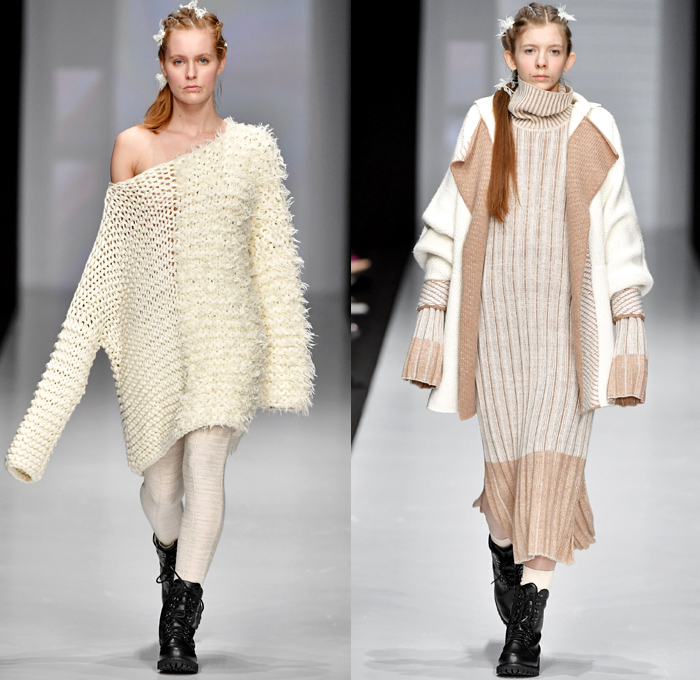 Kseniaseraya 2017-2018 Fall Winter Womens Runway Catwalk Looks - Mercedes-Benz Fashion Week MBFW Moscow Russia - Leg O'Mutton Sleeves Strapless Open Shoulders Bird Tribal Ethnic Folk Patches Embroidery Chunky Knit Sweater Jumper Ribbed Sweaterdress Mesh Fishnet Crochet Basketweave Oversized Elongated Sleeves Turtleneck Cardigan Outerwear Coat Shaggy Plush Fur V-Neck Ruffles Pencil Midi Skirt Mix Match Mash Up Blouse Long Sleeve Shirt Sheer Chiffon Tulle Maxi Dress Hooded Sweatshirt Jogger Sweatpants Fleece Boots Leggings Wide Leg Trousers Palazzo Pants