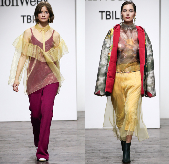 Lako Bukia 2017-2018 Fall Winter Womens Runway Catwalk Looks - Mercedes-Benz Fashion Week Tbilisi Georgia MBFW - Outerwear Coat Parka Quilted Waffle Puffer Sheer Chiffon Organza Tulle Ruffles Frills Photo Abstract Print Landscape City Trees Branches Shirtdress One Shoulder Harlequin Diamonds Checkerboard Knit Crochet Weave Sweaterdress Robe Sleeveless Vest Blouse Skirt Frock Turtleneck Lace Embroidery Dress Bell Sleeves Skirt Frock Culottes Silk Satin Chelsea Boots