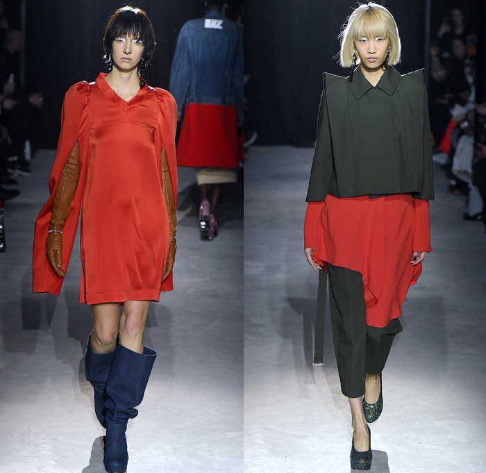 Lutz Huelle 2017-2018 Fall Autumn Winter Womens Runway Catwalk Looks - Mode à Paris Fashion Week Mode Féminin France - Hybrid Half & Half Split Panels Denim Jeans Hanging Sleeve Trucker Bomber Jacket Acid Wash Cargo Pockets Long Sleeve Shirtdress Plush Fur Shearling Outerwear Coat Maxi Dress Silk Satin Tweed Waffle Quilted Puffer Down Material Metallic Silver Leg O'Mutton Sleeves Bell Hem Cropped Pants Embroidery Bedazzled Sequins Knitwear Sweater Oversized Exaggerated Proportions Pointed Shoulders Gauntlet Gloves Chain Necklace Earrings Below The Knee Boots
