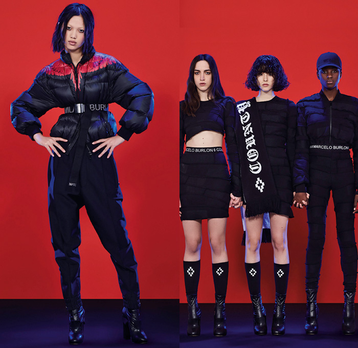 Marcelo Burlon County of Milan 2017-2018 Fall Autumn Winter Womens Lookbook Presentation - Mode à Paris Fashion Week Mode Féminin France - Melancholic Lovers Post-Apocalyptic Armageddon Renaissance Portrait Kappa Rock N Roll Grunge Sportswear Plaid Tartan Windowpane Check Grid Quilted Waffle Puffer Down Jacket Patchwork Mummy Wrap Crop Top Midriff Hooded Sweatshirt Bomber Motorcycle Biker MX Racer Jacket Elongated Sleeves Wool Oversized Cropped Pants Capri Culottes Dovetail Mullet Hem High Low Skirt Snap Buttons Tearaway Knee Panels Rose Flowers Floral Snakes Ombre Wings Wide Leg Denim Jeans Shawl Socks Baseball Cap Shearling