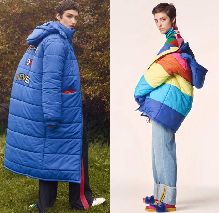Mira Mikati 2017-2018 Fall Autumn Winter Womens Lookbook Presentation - Mode à Paris Fashion Week Mode Féminin France - Forever Or Never The Middle Of Nowhere Under The Rainbow Girl Scout Mira Camp Never Grow Up Pop Art Crayon Stripes Hues Khaki Badges Emblems Patches Medals Oversized Outerwear Coat Quilted Waffle Puffer Down Hooded Parka Poncho Cloak Turtleneck Ribbed Chunky Knit Cardigan Sweater Vest Embroidery Bedazzled Sequins Bomber Jacket Long Sleeve Blouse Midi Skirt Sweatshirt Harlequin Check Wool Fringes Roll Up Denim Jeans Tuxedo Stripe Furry Slippers Socks Lace Up