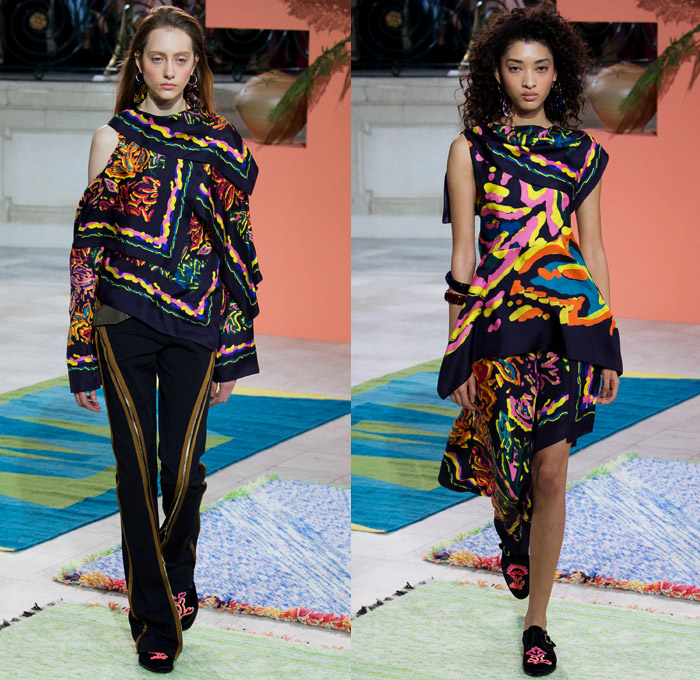 Peter Pilotto 2017-2018 Fall Autumn Winter Womens Runway Catwalk Looks - London Fashion Week Collections British Fashion Council UK United Kingdom - Quilted Waffle Puffer Outerwear Coat Parka Shaggy Plush Fur Patchwork Hypnotic Stitch Velvet Knit Jumper Sweaterdress Lace One Shoulder Shawl Cutout Shoulders Bell Sleeves Buttoned Hem Elongated Sleeves Decorative Art Tribal Ethnic Folk Embroidery Boots Galoshes Zippers Cargo Pockets Scarf Silk Satin Ombre Gradient Asymmetrical Hem Sheer Chiffon Leaves Foliage Tiered Decorated Bedazzled Maxi Dress Fringes High Slit Glass Earrings