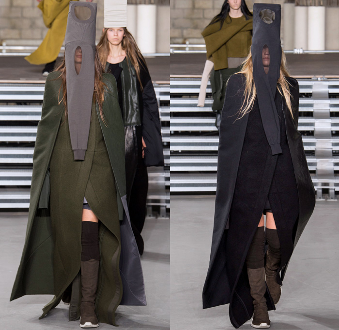 Rick Owens 2017-2018 Fall Autumn Winter Womens Runway Catwalk Looks - Mode à Paris Fashion Week Mode Féminin France - Sweater Jumper Pullover Sleeve Headwear Lantern Head Leather Wool Oversized Outerwear Overcoat Robe Kimono Wrap Tie Up Patchwork Colorblock One Shoulder Elongated Sleeves Drapery Deconstructed Organic Shape Sculptural Twisted Fleece Cocoon Frankenstein Shoulders Bloated Droopy Saggy Panel Duffel Bag Bulb Twist Pillow Quilted Waffle Puffer Down Coat Cape Blanket Cloak Above The Knee Suede Boots Skirt Frock Leg Warmers
