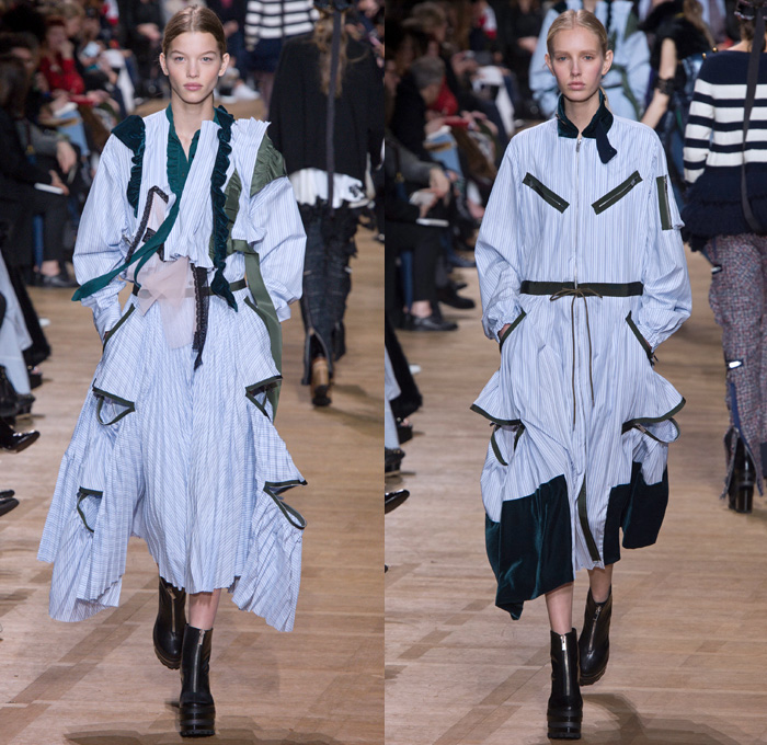 Sacai by Chitose Abe 2017-2018 Fall Autumn Winter Womens Runway Catwalk Looks - Mode à Paris Fashion Week Mode Féminin France - Denim Jeans Hybrid Combo Panels Zippers Shaggy Plush Fur Shearling Sheer Chiffon Tulle Lace Needlework Embroidery Flowers Floral Adorned Quilted Waffle Puffer Down Vest Outerwear Coat Parka Shirtdress Maxi Dress Cargo Pockets Velour Velvet Ruffles Fringes Chunky Knit Crochet Turtleneck Cardigan Sweater Tweed Wide Leg Trousers Palazzo Pants Sleepwear Pajamas Lounge Bomber Jacket Military Peacoat Plaid Tartan Houndstooth Check Poncho Cloak Zebra Stripes Sunglasses Earmuffs Strap Tote Box Handbag Boots