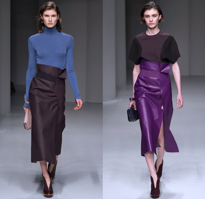 Salvatore Ferragamo 2017-2018 Fall Autumn Winter Womens Runway Catwalk Looks - Milano Moda Donna Collezione Milan Fashion Week Italy - Minimalist Outerwear Overcoat Coatdress Shaggy Plush Mink Fur Leather Sleeveless Vest Circular Sculptural Round Collar Tweed Jacket Blazer Turtleneck Knit Sweaterdress Jumper Quilted Waffle Puffer Down Parka Wide Lapel Suede Velour Velvet Sheer Silk Animal Tiger Stripes Leopard Cheetah Spots Capelet Elongated Sleeves Nipped Waist Gown Eveningwear Cocktail Maxi Dress Shawl Peel Away Noodle Strap Strap Brocade Jacquard Mix Match Mash Up Patterns Paper Bag Waist Office Businesswear Crocodile Clutch Purse Bag Arm Warmers Lace Up Boots Colored Sunglasses Wide Belt Tote Doctor's Bag