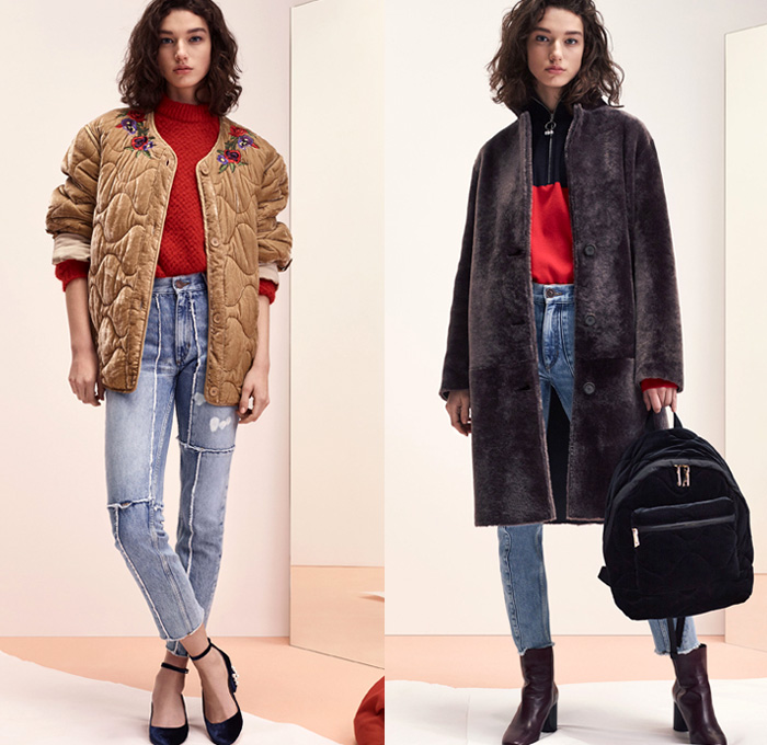 Sandro 2017-2018 Fall Autumn Winter Womens Lookbook Presentation - Mode à Paris Fashion Week Mode Féminin France - Denim Jeans Patchwork Frayed Raw Hem Destroyed Destructed Skinny Outerwear Coat Plush Fur Shearling Quilted Waffle Puffer Down Bomber Marching Band Bandleader Drum Corps Jacket Knit Sweater Sweatshirt Turtleneck Blazer Cardigan Flowers Floral Motif Plaid Tartan Check Miniskirt Leather Stockings Tights Hosiery Cropped Pants Long Sleeve Shirt Blouse Stripes Corduroy Ruffles Zigzag Pattern Pleats Dress Lace Embroidery Velour Velvet Onesie Jumpsuit Coveralls Dungarees Sheer Chiffon Backpack Boots Oxfords Minibag Purse