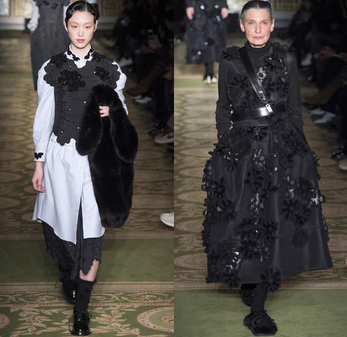 Simone Rocha 2017-2018 Fall Autumn Winter Womens Runway Catwalk Looks - London Fashion Week Collections UK United Kingdom - Victorian Military Army Velvet Crossbody Belt Stoles Shawl Bathrobe Daisies Flowers Floral Motif Lace Embroidery Needlework Maxi Dress Braid Bow Ribbon Shaggy Plush Fur Oversized Outerwear Coat Tiered Skirt Frock Mix Match Half & Half Ruffles Cargo Pockets White Ensemble Vest Waistcoat Embellishments Decorated Bedazzled Blouse Check Plaid Trompe L'oeil Furry Slippers Socks Bunny Rabbit Bag