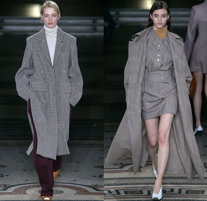Stella McCartney 2017-2018 Fall Autumn Winter Womens Runway Catwalk Looks - Mode à Paris Fashion Week Mode Féminin France - Faith Love Energy Opéra Garnier Denim Jeans High Waist Slouchy Wide Leg Retro Conical Bras Suede Panels Blouse Leather Oversized Outerwear Coat Plaid Tartan Check Turtleneck Officewear Corporate Businesswear Blazerdress Print Graphic Motif Art Painting Lion Horse Landscape Garden Velvet Accordion Pleats Sheer Chiffon Lace Embroidery Needlework Ornamental Decorative Art Arm Cape Sleeve Separates Wideband Onesie Jumpsuit Coveralls Cargo Pockets Utilitarian Fisherman's Swamp Bib Nylon Sporty Tracksuit Miniskirt Handbag Satchel Tote Trainers Tomboy
