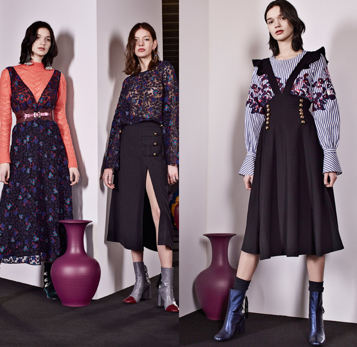 Tanya Taylor 2017-2018 Fall Winter Womens Lookbook Presentation - New York Fashion Week NYFW - Antique 1920s Japanese Kimonos Flowers Floral Leaves Foliage Botanical Print Pattern Motif Embroidery Decorated Trompe-l'œil Cutout Shoulders Maxi Dress Noodle Spaghetti Strap One Shoulder Shaggy Plush Fur Outerwear Coat Skirt Frock Sheer Chiffon Asymmetrical Hem Ruffles Dress Over Blouse Knit Sweater Stripes Lasercut Strapless Metallic Sheen Bell Wide Sleeves Denim Jeans Wide Leg Trousers Trucker Jacket Boots Mules