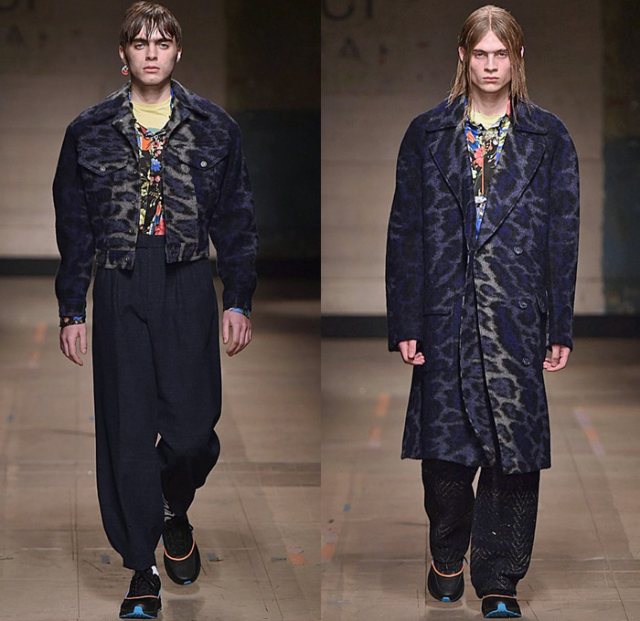 Topman Design 2017-2018 Fall Autumn Winter Mens Runway Catwalk Looks - London Collections Fashion Week Mens UK United Kingdom - Denim Jeans Bucket Hat Wide Leg Baggy Loose Vest Cargo Pockets Trucker Jacket Colorblock Parka Knit Mesh Sweater Pirate Shirt Swirl Sunburst Duck Mohair Hood Sweatshirt Half & Half Quilted Waffle Puffer Oversized Outerwear Coat Plaid Tartan Check Pinstripe Wool Leopard Flowers Floral Print Bedazzled Rings Cross Fringes Fur Shearling Pinned Leggings Raincoat Motorcycle Biker Leg Panels Jogger Sweatpants Trainers Footwear Athletic Shoes Scarf Pop Art Rabbit Elephant