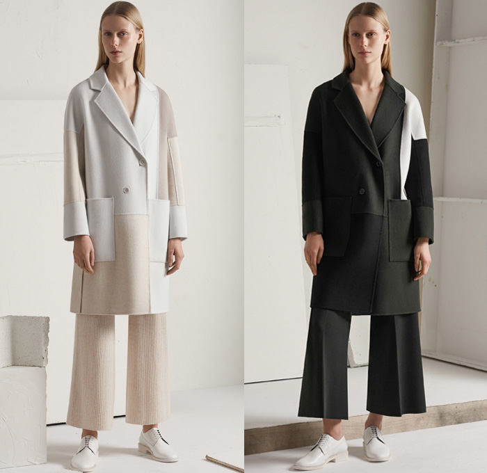 TSE Cashmere 2017-2018 Fall Winter Womens Lookbook Presentation - New York Fashion Week NYFW - Raw Knit Air Spun Yarn Neutrals Patchwork Outerwear Coat Poncho Cloak Chunky Knit Sweater Jumper Ribbed Basketweave Cropped Wide Leg Trousers Palazzo Pants Minimalist Pastel Skirt Frock Jogger Sweatpants Cardigan Cutout Shawl Sleeveless Shirtdress