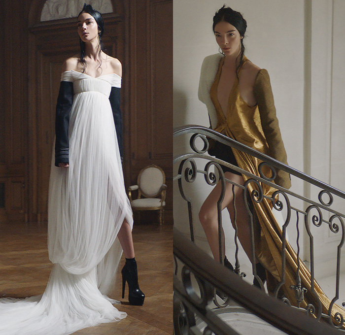 Vera Wang 2017-2018 Fall Autumn Winter Womens Lookbook Presentation - Mode à Paris Fashion Week Mode Féminin France - Heraldic Gold Feathers Embroidery Decorated Empire Gown Maxi Dress Eveningwear Sheer Chiffon Tulle Voile Drapery Emblem Military Officer Legionnaire Oversized Outerwear Pea Coat Plush Fur Shearling Sheepskin Elongated Sleeves Blouse Shirt Dress Shorts Bell Hem Bulb Skirt Cropped Pants Trousers Culottes Capelet Stripes Peplum Strapless Tearaway Snap Buttons Pleats Cinch Boots