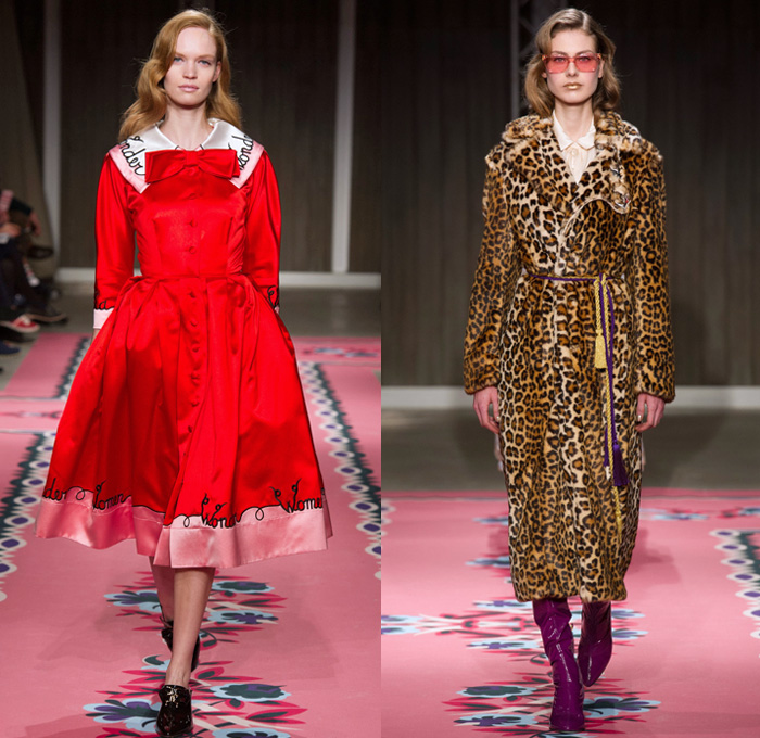Vivetta 2017-2018 Fall Autumn Winter Womens Runway Catwalk Looks - Milano Moda Donna Collezione Milan Fashion Week Italy - 1940s Forties Vintage Circus Carnival Acrobats Masks Harlequins Performers Unicorns Rocking Horses Stars Velvet Silk Satin Pastel Bustier Leg O'Mutton Sleeves Blouse Leather Flowers Floral Leaves Foliage Embroidery Adorned Decorated Bedazzled Bejeweled Crystals Tassels Wide Lapel Missionary Peter Pan Collar Outerwear Coat Poncho Cloak Capelet Maxi Dress Eveningwear Goddess Gown Bow Ribbon Plush Fur Ruffles Stripes Fringes Strapless Sheer Chiffon Harlequin Lace Silhouette Heads Knit Crochet Decorative Art Shorts Stockings Tights Fishnet Leopard Thigh High Boots Colored Sunglasses