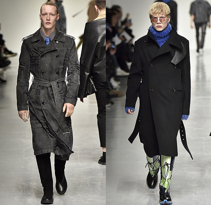 Xander Zhou 2017-2018 Fall Autumn Winter Mens Runway Catwalk Looks - London Collections Fashion Week Mens British Fashion Council UK United Kingdom - Oversized Outerwear Trench Coat Furry Shaggy Plush Shearling Turtleneck Sweater Frankenstein Football Padded Shoulders Kimono Wrap Wide Sleeves Neck Tie Leather Workwear Mud Outdoor Mountaineering Swamp Pants Cargo Pockets Zipper Leg Panels Denim Jeans Wrinkles Crinkles Dark Wash Slouchy Baggy Loose Wide Leg Garter Waistband Rain Boots Galoshes Lace Up Portfolio Bag Tote Gloves Headwear Lunchbox