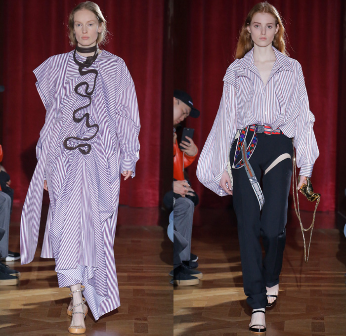 Y/PROJECT 2017-2018 Fall Autumn Winter Womens Runway Catwalk Looks - Mode à Paris Fashion Week Mode Féminin France - 1990s Denim Jeans Miniskirt Curved Hem Contrast Stitching Paper Bag Waist Trucker Jacket Wide Leg Trousers Palazzo Pants Lace Up Elongated Hem Fold Up Quilted Waffle Puffer Down Jacket Bubbles Cinch Bloated Furry Mink Intarsia Shaggy Plush Fur Shearling Capelet Turtleneck Buttons Knit Jumper Sweaterdress Ribbed Crop Top Midriff Tie Up Knot Ribbon Oversized Outerwear Overcoat Hood Blouse Pantsuit Half Panel Corduroy Silk Satin Lace Needlework Embroidery Leg Panels Houndstooth Check Plaid Tartan Metallic Layers Velour Velvet Ruffles Shirtdress Wrap Around Sheer Chiffon Organza Tulle Jogger Sweatpants Strapless Gladiator Snakeskin Boots Hand Sculpture Necklace Choker Chain