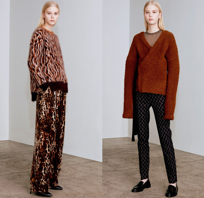 Yigal Azrouël 2017-2018 Fall Autumn Winter Womens Lookbook Presentation - New York Fashion Week NYFW - Outerwear Trench Coat Parka Bomber Jacket Plush Mink Fur Shearling Texture Velvet Chenille Mesh Calfskin Camouflage Leaves Trees Branches Foliage Graphic Wide Leg Trousers Palazzo Pants Stripes Chunky Knit Sweater Ornamental Print Decorative Art Fringes Trapezoid Neck Argyle Leopard Wrap Steel Pattern Geometric Tribal Shirtdress Noodle Spaghetti Strap Maxi Dress Gown Eveningwear Cutout Shoulders