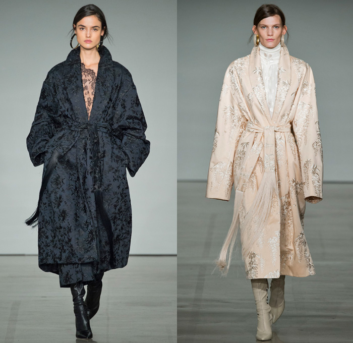 Zimmermann 2017-2018 Fall Winter Womens Runway Catwalk Looks - New York Fashion Week NYFW - The Maples Pantsuit Blazer Jacket Brocade Jacquard Flowers Floral Botanical Pattern Cropped Wide Leg Trousers Palazzo Pants Knit Turtleneck Sweater Jumper Chevron Stripes Polka Dots Long Sleeve Blouse Tiered Skirt Asymmetrical Hem Accordion Pleats Kimono Wrap Robe Plush Fur Outerwear Coat Lace Needlework Embroidery Mesh Ruffles Sash Waist Fringes Maxi Dress Goddess Gown Eveningwear Rectangular Neck One Shoulder Sheer Chiffon Tulle Metallic Sheen Emblem Patch Above The Knee Boots
