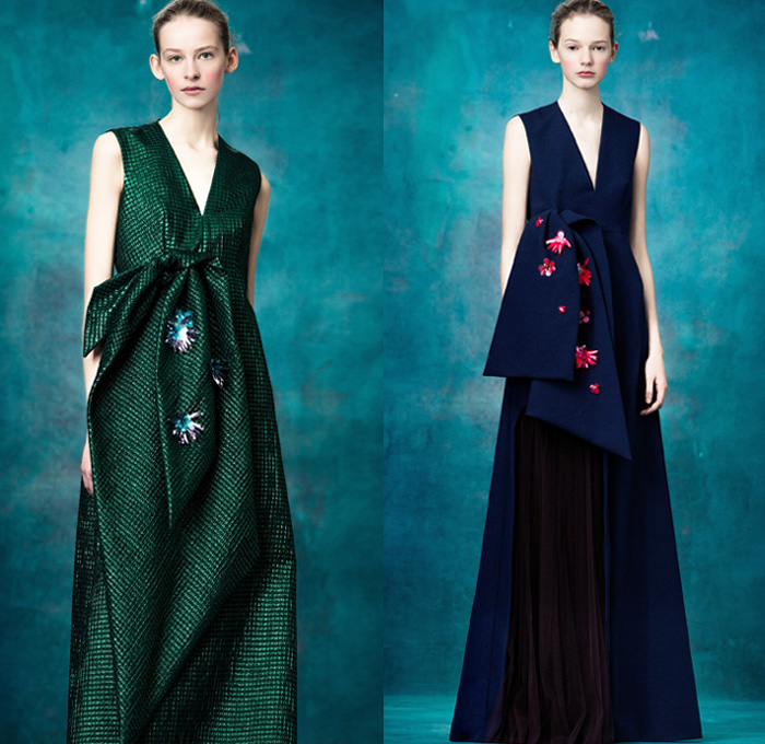 Delpozo 2017 Pre Fall Autumn Womens Lookbook Presentation - Volume Surface Treatments Decoupage Dimensional Structural Organic Shape Sculptural Flowers Floral Petals Chunky Knit Sweater Jumper Crochet Wide Leg Trousers Palazzo Pants Culottes Sleeveless Mockneck Dress Bell Hem Balloon Cap Sleeves Oversized Outerwear Coat Robe Sheen Silk Satin Embroidery Adornments Decorated Bedazzled Sequins Gown Eveningwear Brooch Strapless Skirt Frock Miniskirt Stripes Blouse Pantsuit Knot Bow Ribbon Drapery Plaid Tartan Check Windowpane Boxy Mini Handbag Tote Purse Clutch Slip-Ons