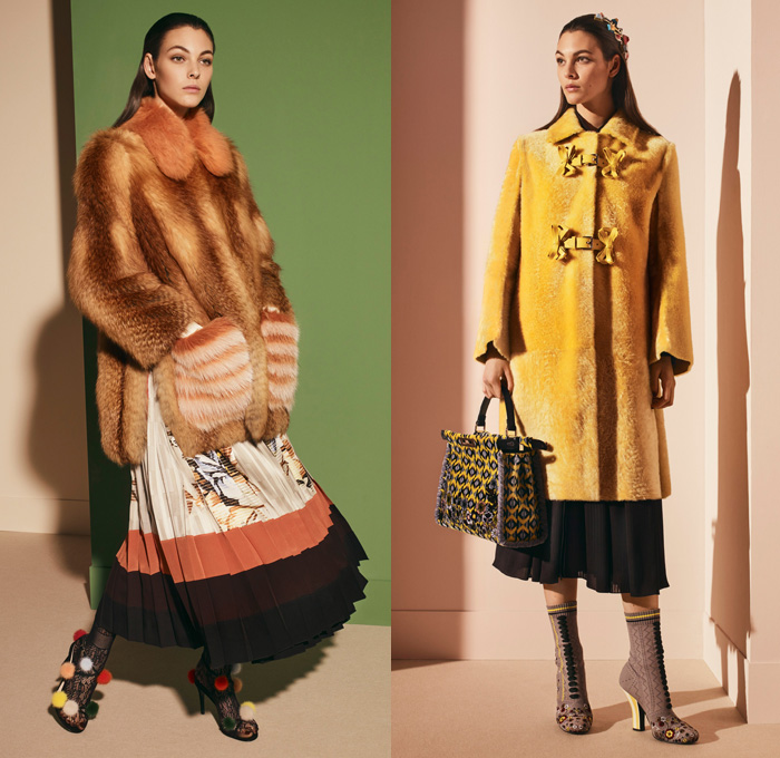 Fendi 2017 Pre Fall Autumn Womens Lookbook Presentation - Outerwear Fur Plush Shearling Coat Hanging Sleeve Cloak Silk Satin Jacquard Sheer Chiffon Dress Pantsuit Blazer Jacket Dovetail Mullet High Low Hem Diamond Pattern Embroidery Bedazzled Flowers Floral Geometric Blouse Lace Up Stitch Midi Skirt Bow Ribbon Bell Sleeves Needlework Hosiery Mesh Lasercut Snakeskin Accordion Pleats Culottes Fingerprint Denim Jeans Jumpsuit Cargo Pockets Coveralls Mini Handbag Owl Stripes Sunglasses Fringes Sock Wrapped Pumps Hairpin Scarf Metallic Ankle Boots Pompoms Raccoon Tail