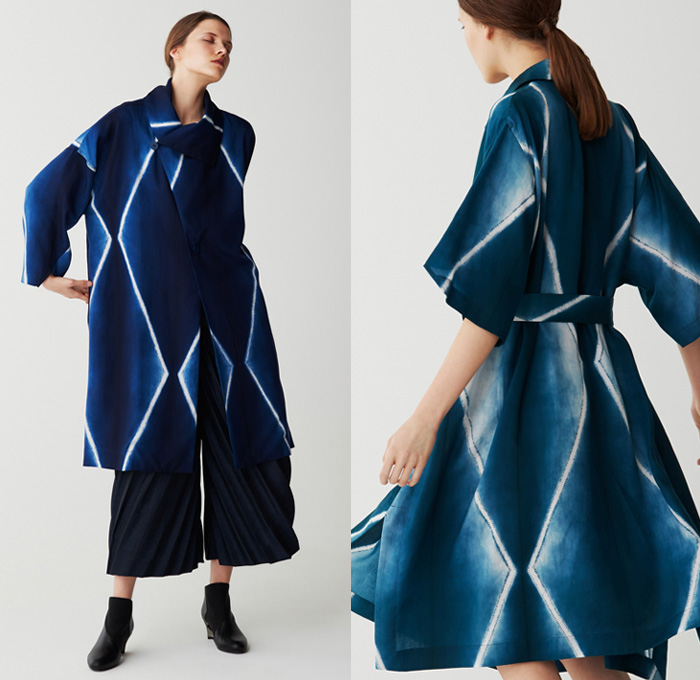 Issey Miyake 2017 Pre Fall Autumn Womens Lookbook Presentation - Shibori Itajime Shaped-Resist Resist-Dyeing Geometric Organic Shape Drapery Futuristic Minimalist Architectural Accordion Pleats 3D Steam Stretch Silk Gradient Stripes Sheen Robe Coat Belted Waist Culottes Gauchos Wide Leg Cropped Pants Long Shirt Wrap Sleeveless Knitwear Blouse Grooves Crepe Skirt Frock Tie Up Knot Ankle Boots Handbag Zigzag Leggings Stockings Hosiery Cocoon
