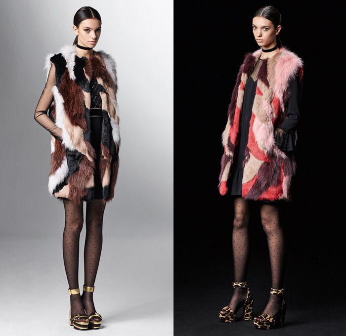 Just Cavalli 2017 Pre Fall Autumn Womens Lookbook Presentation - Marching Band Bandleader Coat Poncho Cloak Hanging Sleeve Metallic Gold Silver Bomber Jacket Fur Vest Flowers Floral Blouse Ruffles Miniskirt Stockings Tights Hosiery High Low Hem Maxi Dress Lace Needlework Butterflies Tiger Jungle Leopard Cheetah Snake Reptile Ornamental Decorative Art Fringes Silk Leather Dots Scarf Ankle Boots Sunglasses Choker Crossbody Bag