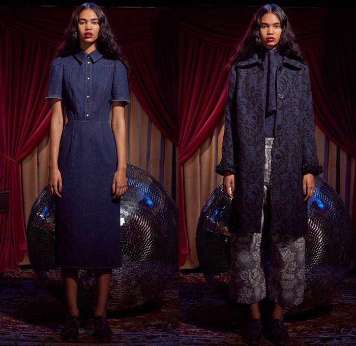 Karen Walker 2017 Pre Fall Autumn Womens Lookbook Presentation - Western Rodeo Embroidery Denim Jeans Wide Leg Trousers Frayed Raw Hem Unicorn Ornamental Print Decorative Art Brocade Pussycat Bow Scarf Outerwear Coat Cropped Pants Ruffles Dress Plaid Tartan Check Gingham Metallic Leaves Foliage Sleepwear Pajamas Lounge Shirt Strapless Open Shoulders Tiered Miniskirt Asymmetrical Hem